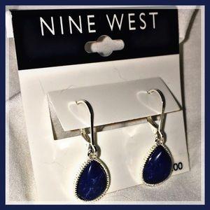 NWT Nine West Denim Blue Teardrop Earrings